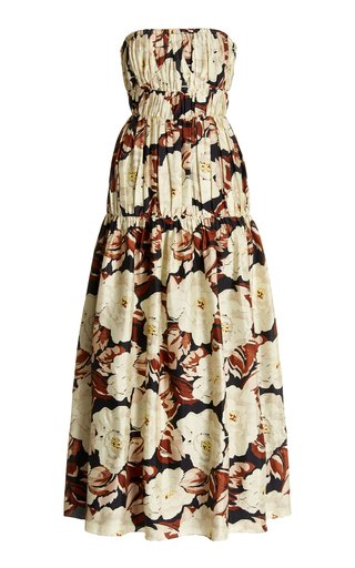 Vivienne Smocked Floral Silk Midi Dress