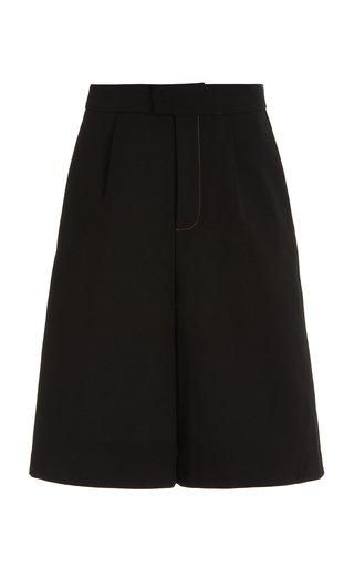 Maxe Pleated Woven Knee-Length Shorts