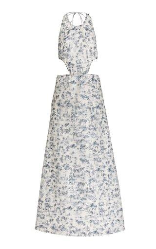 Dimitri Open-Back Printed Cotton-Silk Maxi Dress