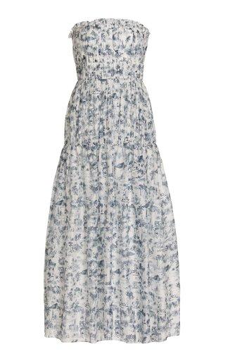 Dimitri Printed Cotton-Silk Strapless Maxi Dress