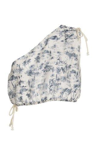 Dimitri Printed Cotton-Silk One-Shoulder Crop Top