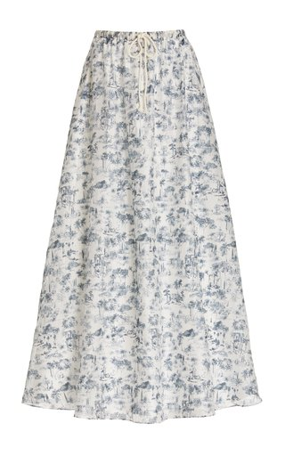 Dimitri Printed Cotton-Silk Maxi Skirt
