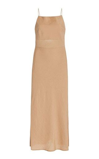 Paris Satin Open-Back Midi Slip Dress