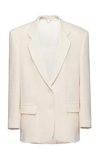 Textured Oversized Cotton-Blend Blazer