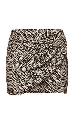Wrap-Effect Cotton-Blend Mini Skirt