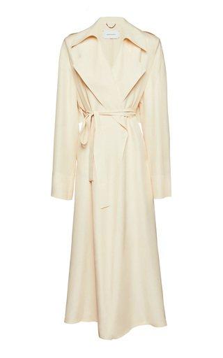 Longline Draped Silk Coat