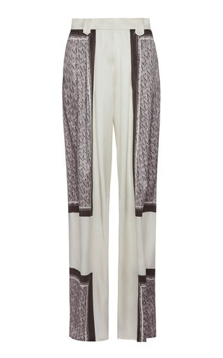 Color-Blocked Silk-Blend Pants