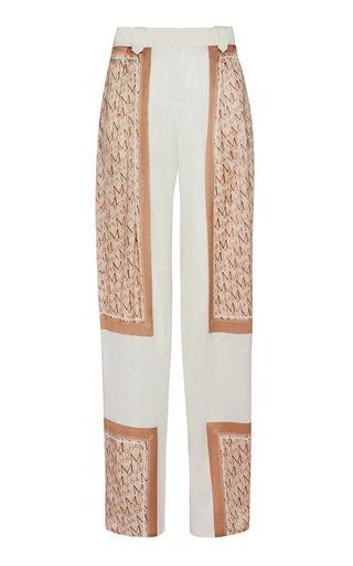Color-Blocked Straight-Leg Silk-Blend Pants