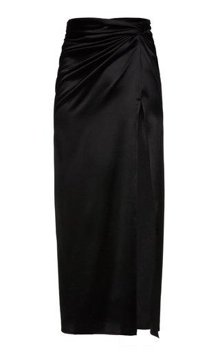 Leg Slit Silk-Blend Midi Skirt