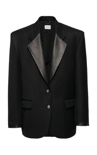 Oversized Leather-Collared Silk Blazer