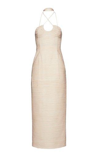 Fitted Silk-Blend Midi Dress