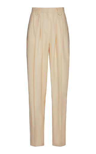 Pleated Cotton-Blend Pants