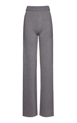 High-Waisted Wool-Cashmere Pants
