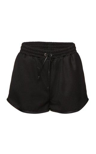 Drawstring Wool Mini Shorts
