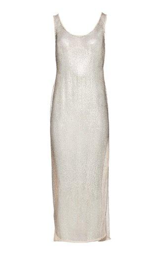 Metallic Cotton-Blend Midi Dress