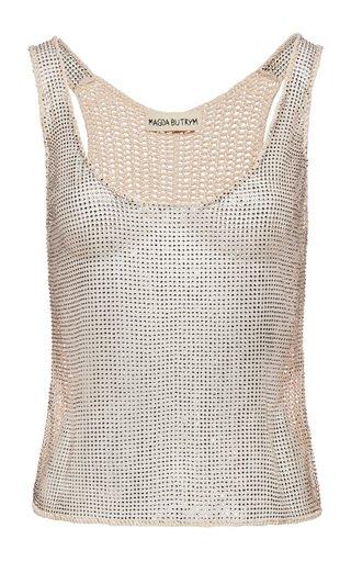 Metallic Cotton-Blend Top