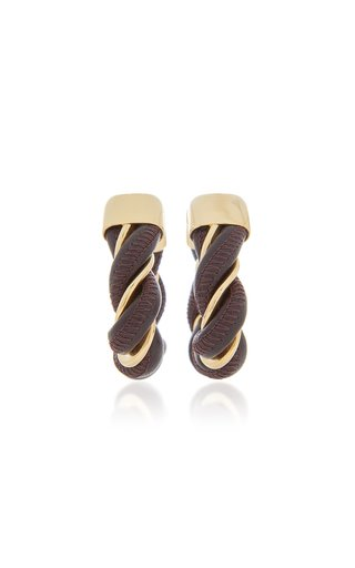Triangle Leather-Trimmed 18K Gold-Plated Hoop Earrings
