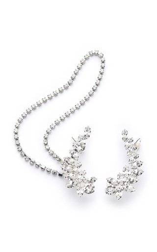 Crystal Cuff and Chain Earrings