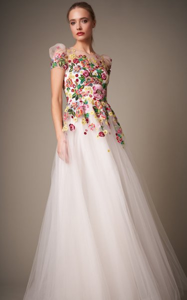 Carole Floral-Embellished Tulle Ball Gown