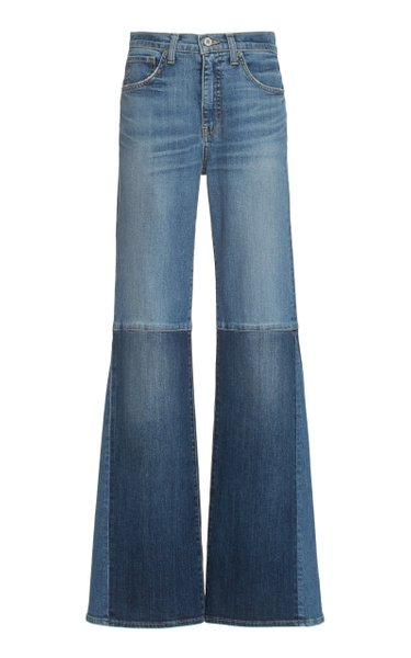 Marseille Patchwork Stretch High-Rise Flared-Leg Jeans