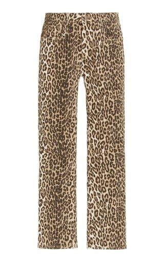 Leopard-Print Stretch Mid-Rise Kick-Fit Jeans