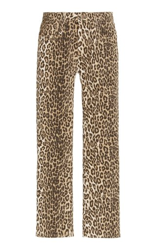 Leopard-Print Stretch Mid-Rise Cropped Kick-Fit Jeans