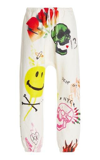 Graffiti-Print Cotton Cropped Sweatpants