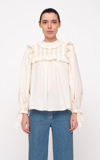 Adrienne Tie-Detailed Cotton Top