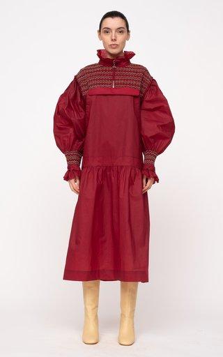 Gladys Hand-Smocked Cotton-Blend Dress