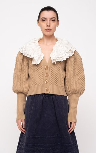 Melanie Cable-Knit Cropped Merino Wool Cardigan