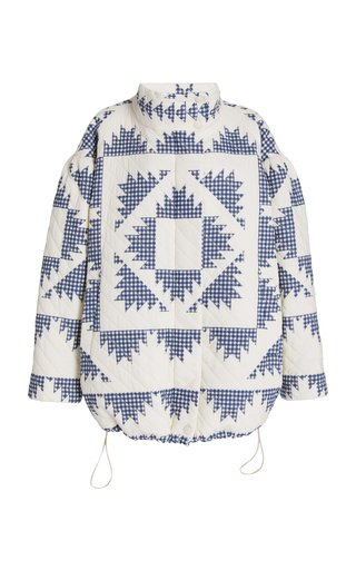 Gloucester Gingham-Patterned Cotton Puffer Jacket