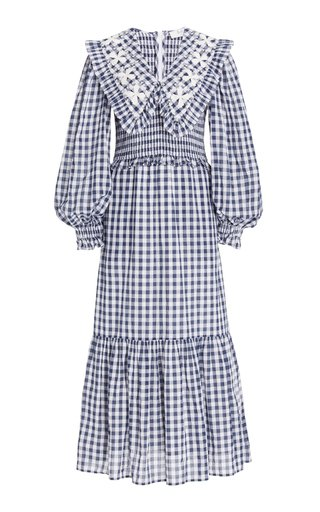 Gina Smocked Gingham Cotton Maxi Dress