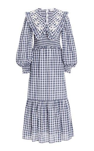 Gina Smocked Gingham Cotton Maxi Dress