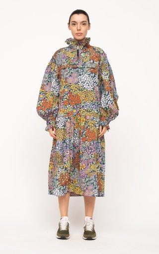 Enora Floral-Printed Crepe Midi Dress