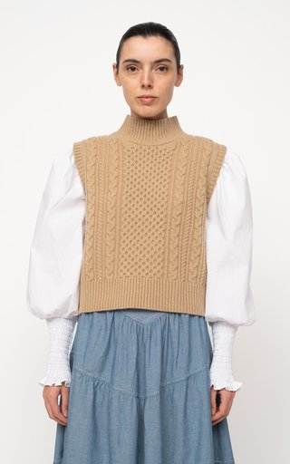 Melanie Cable-Knit Merino Wool And Cotton Top