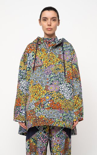 Enora Floral-Printed Hooded Shell Jacket