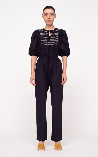 Gladys Hand-Smocked Cotton Jumpsuit