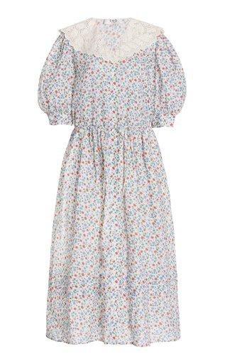 Bubbie Floral-Printed Ruffled Ramie Midi Dress