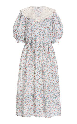 Bubbie Lace-Trimmed Floral Ramie Midi Dress