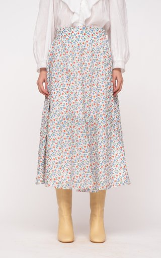Bubbie Floral-Printed Tiered Cotton Skirt