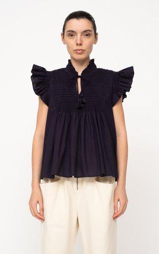 Gladys Hand-Smocked Cotton Top