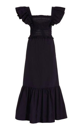Gladys Hand-Smocked Cotton Midi Dress