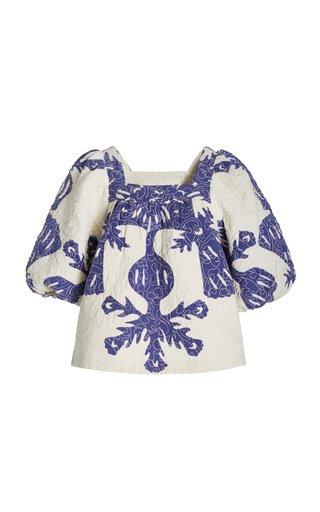 Henrietta Printed Puff-Sleeve Cotton Top