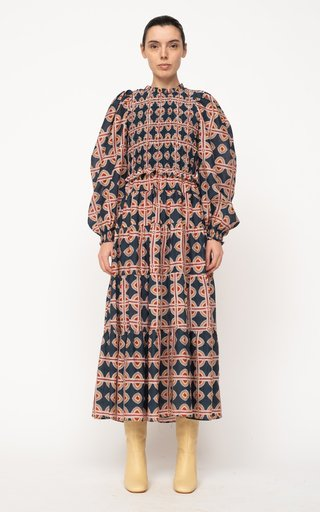 Leigh Printed Tiered Cotton-Silk Dress