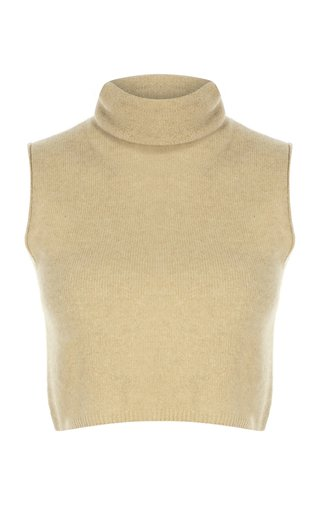 Sleeveless Cashmere Cropped Sweater