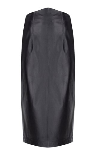 Triangle-Waist Leather Midi Skirt