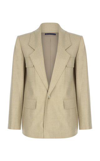 Notched Wool-Blend Blazer