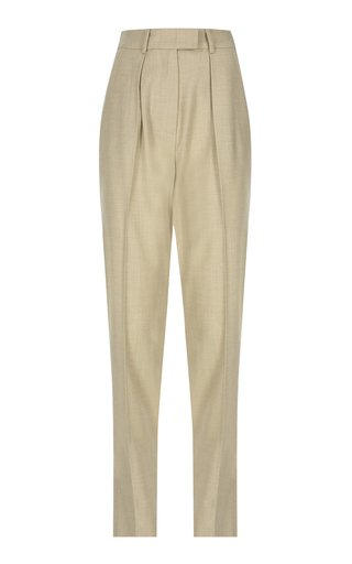 Pleated Wool Straight-Leg Pants