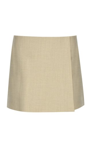 Wrap-Effect Wool-Blend Mini Skirt