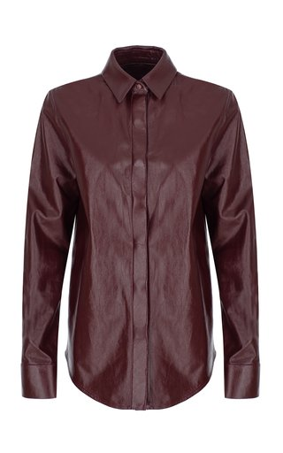 Leather Button-Down Shirt